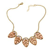 "Anju Tri-Tone Leaf Station 16"" Bib Necklace"