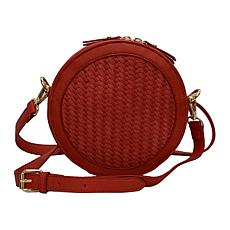 Anna Cai Faux Leather Basket Weave Crossbody Bag