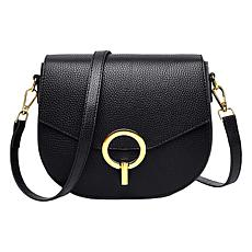 Anna Cai Genuine Leather Buckle Detail Crossbody