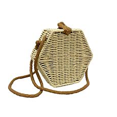 Anna Cai Natural Straw Hexagon Crossbody Bag