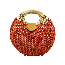Anna Cai Round Wicker Bag with Top Handle