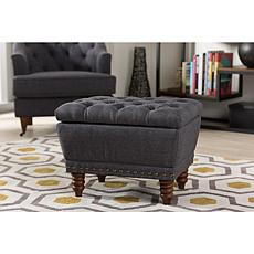Annabelle Fabric Upholstered Button-Tufted Storage Ottoman
