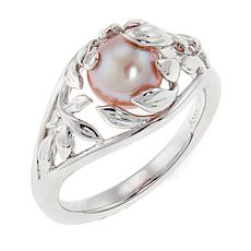 "Anne Geddes ""Honesty"" Pink Cultured Freshwater Pearl Leaf Ring"