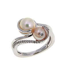 "Anne Geddes ""Nurture"" White and Pink Bypass Ring"