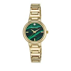 Anne Klein Goldtone Diamond-Accented Green Dial Watch