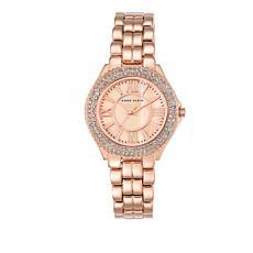 Anne Klein Rosetone Crystal-Accented Bezel Bracelet Watch