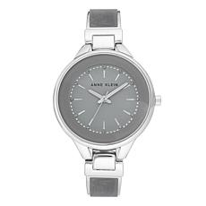 Anne Klein Women's Gray Glitter Semi-Bangle Bracelet Watch
