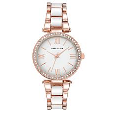 Anne Klein Women's Rosetone and White Crystal Bezel Bracelet Watch