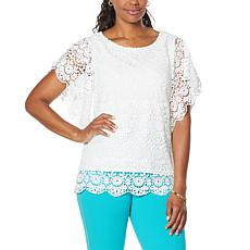 Antthony Bateau-Neck Flutter-Sleeve Crochet Top