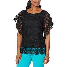 Antthony Bateau-Neck Flutter-Sleeve Crochet Top