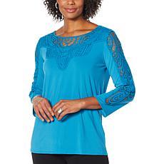 Antthony Bracelet-Sleeve Crochet Knit Tunic Top
