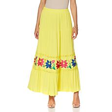"""Antthony """"Claudine"""" Tiered Maxi Skirt with Embroidery"""