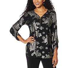 Antthony Foil Print Long-Sleeve Zippered Top