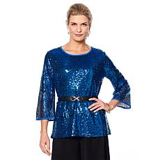 """Antthony """"Glamorous Life"""" Sequin Top with Volume Sleeves"""