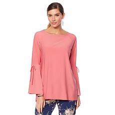"Antthony ""Metallic Flower"" Raglan Bell-Sleeve Top"