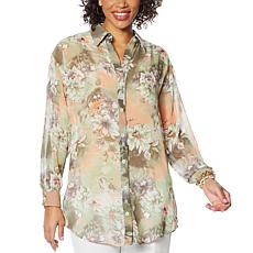 "Antthony ""Natural Flow"" Printed Chiffon Button-Up Shirt"