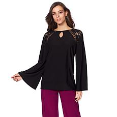 "Antthony ""Paris with Love"" Blouse with Lace Trim"