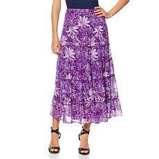 Antthony Printed Chiffon Tiered Skirt