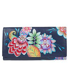 Anuschka Hand-Painted Clutch Wallet with RFID Protection