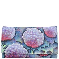 Anuschka Hand Painted Leather Checkbook Clutch Wallet