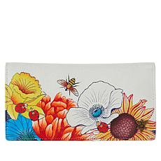 Anuschka Hand-Painted Leather Checkbook Organizer Wallet