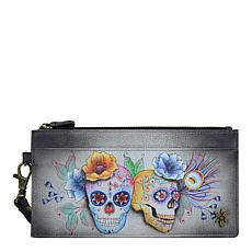 Anuschka Hand Painted Leather Clutch Wristlet Organizer