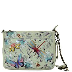 Anuschka Hand Painted Leather Compact Crossbody with Front Pocket