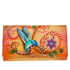 Anuschka Hand-Painted Leather Compartmental Clutch Wallet