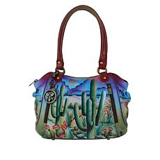 Anuschka Hand-Painted Leather Double Front Zipper Shopper