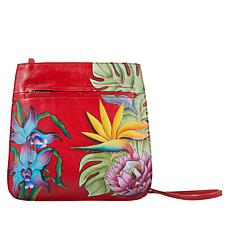 Anuschka Hand-Painted Leather Front-Zip Crossbody Bag