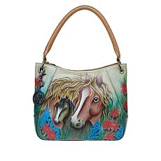 Anuschka Hand-Painted Leather Hobo Shoulder Bag