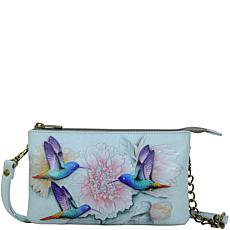 Anuschka Hand Painted Leather Organizer Crossbody with RFID Protection