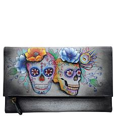 Anuschka Hand Painted Leather Tri-Fold Clutch Wallet