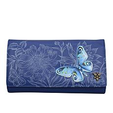 Anuschka Hand Painted Leather Tri-Fold Wallet