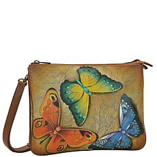 Anuschka Hand Painted Leather Triple Compartment Crossbody