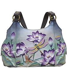 Anuschka Hand Painted Leather Triple Compartment Large Satchel
