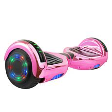 AOB Hoverboard with Bluetooth Speakers - Pink Chrome