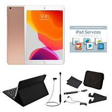 """Apple iPad® 10.2"""" 32GB Gold Tablet w/Keyboard Case, Earbuds & Stylus"""