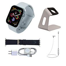 Apple Series 5 40mm Sport Watch with Leather Band and Earbuds