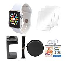 Apple® Watch Series 3 38mm with GPS, Extra Band & Stand - White