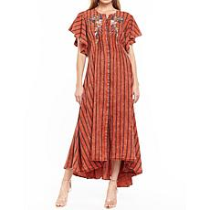 Aratta To Your Beauty Washed Embroidered Stripe Maxi Dress