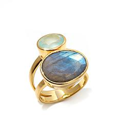 Argento Vivo Labradorite and Chalcedony Double Gem Ring
