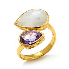 Argento Vivo Pear-Shaped Multigemstone Bypass Ring