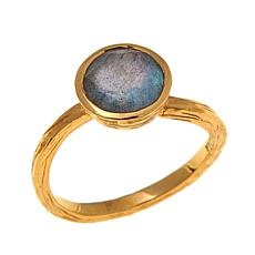 Argento Vivo Round Labradorite Gold-Plated Ring