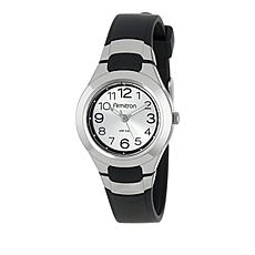 Armitron Women's Black Resin and Silvertone Dial Sport Strap Watch