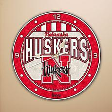 Art Glass Wall Clock - University of Nebraska