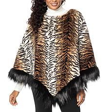 """As Is"" Adrienne Landau Faux Fur Poncho"