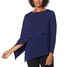 """As Is"" Antthony Asymmetric Long-Sleeve Double Layer Top"