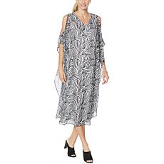 """""""As Is"""" Antthony Cold-Shoulder Dress with Chiffon Overlay"""
