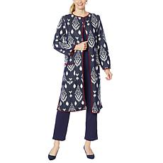 """""""As Is"""" Antthony Knit Jacquard Duster Coat"""